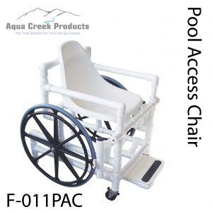 POOL ACCESS CHAIR, PVC, W/MESH SEAT, 250LB CAP